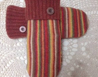 Upcycled-recycled warm and one of a kind felted wool striped mittens in earth tones