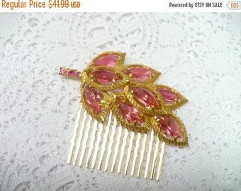 50% OFF SALE Vintage Pink RHINESTONE Gold tone Leaf Hair Comb - vintage Wedding - Bridal - Bridesmaid - Leaf motif  - Heirloom pink comb - K