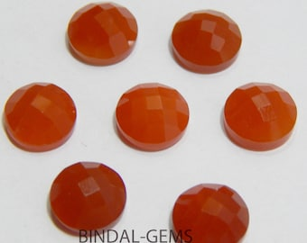 Wholesale Lot 25 Pieces Amazing Red Onyx Round Shape Checker Cut Gemstone For Jewelry