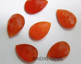 Wholesale Lot 15 Pieces Amazing Red Onyx Pear Shape Checker Cut Gemstone For Jewelry
