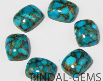 5 Pieces Blue Copper Turquoise Octagon Cushion Shape Loose Smooth Polished Gemstone
