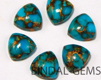 10 Pieces Blue Copper Turquoise Trillion Shape Loose Smooth Polished Gemstone