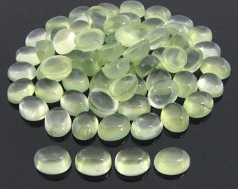 10 Pieces Lot Natural Prehnite Oval Shape Gemstone Smooth Polished Cabochon