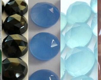 Mix Lot Of 10 Pcs Green Onyx, Black Onyx, Aqua, Blue, Pink Chalcedony 7x7 mm Round Rose Cut Gemstone