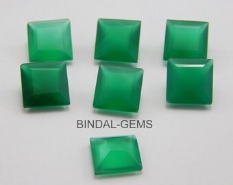15 Pieces Wholesale Lot Green Onyx Square Shape Faceted Cut Gemstone For Jewelry