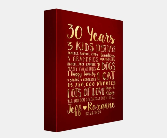 30 Year Anniversary Gift For Parents Kids