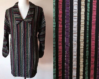 metallic vintage party dress // striped vintage dress // vintage shirt dress //