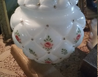 Antique Glass Vanity Dresser Jar Roses