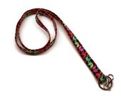 Cute elephants fabric key lanyard. Machine embroidered personalization available.