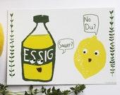 Postkarte- Sauer? Zitrone und Essig im Gespräch