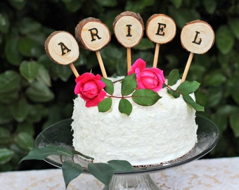 Wood Cake Topper, Personalized name cake topper, Baby shower cake topper, Rustic wedding, woodland wedding, wedding cake topper