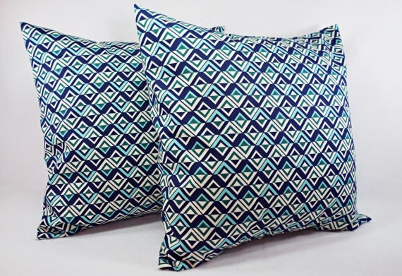 Navy And Teal Throw Pillows: CLEARANCE Navy And Teal Couch Pillow Cover Custom Decorative