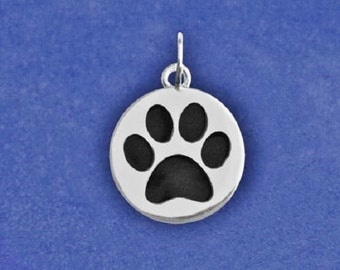 Paw Print Jewelry Charm Sterling Silver Plt Pendant Pet Dog Cat Lover Gift Necklace Bracelet Earrings Handmade Options Paws Animal Black
