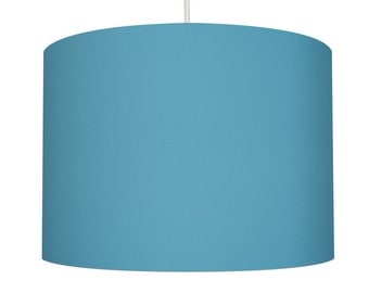 Aqua Blue Linen Fabric Drum Lampshade, Small Lampshade 20cm - Large Lampshade 40cm or Custom Order