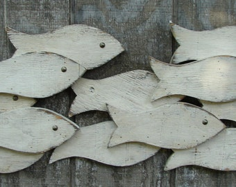 Painted Wood Fish School/Coastal Wall Decor/Nautical Wall Decor/ Beach House Wall Decor