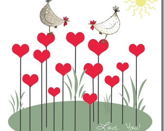 Hearts on Sticks Valentine's Card - Watercolour, Chickens, Love, Anniversary Greetings Card