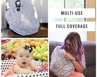 Nursing Cover Scarf, Breastfeeding Scarf, Nursing Poncho, Nursing Scarf, Infinity Scarf, Breastfeeding Cover, BLACK CROSSES