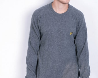 Lyle&Scott Mens L Jumper Crew Neck Wool Dark Grey