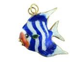 Vintage Gold Tone Blue and White Striped Cloisonne Enamel Fish Pendant Charm