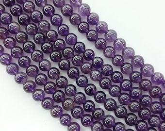 6mm Amethyst Beads, Natural Amethyst Gemstone Beads, Purple Gemstone Beads Smooth Round Stone Beads 8mm 10mm 12mm strand