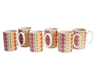 Vintage Holt Howard 1969 Pink Orange Yellow White Polka Dot Diamond Mug Set of 6