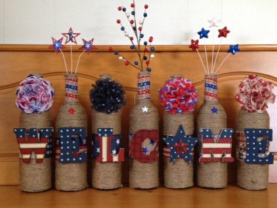 Patriotic decor patriotic wine bottles welcome decor for Decor 750ml