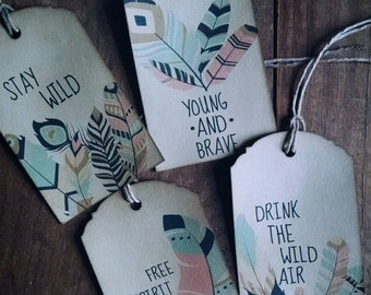 Stay Wild Gift Tag Set, 4 layouts included, tribal, feathers, boho, gift tags, set of 12