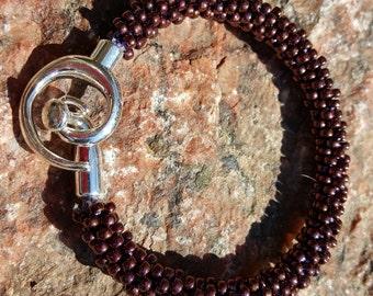 Wine Kumihimo Beaded Bracelet