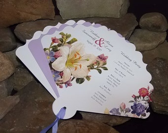 Wedding Program Fans, Garden Floral Wedding Program