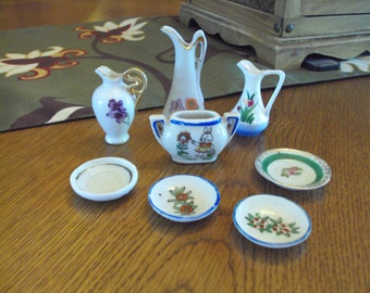 """Set of 8 Small """"Doll House"""" Plates and Vases"""