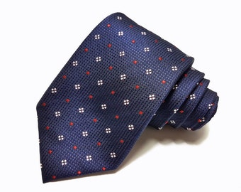 Silk Tie in Navy Blue White and Red Dots