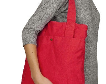 Cotton Canvas 'Adopt' Red Tote Bag