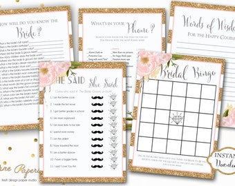 INSTANT DOWNLOAD - Glitter Stripe Pink Peony Floral BRIDAL Games Package - Printable Bridal Shower Games - Floral Game Pack - Glitter - 0155