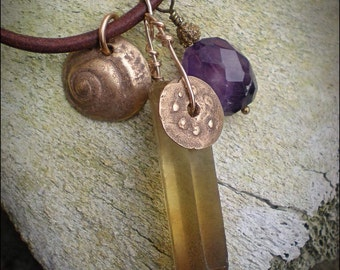 Smoky Quartz Amulet Necklace