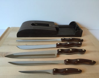 Vintage Cutco Knife Set, Mid Century Cutlery and Knives with Holder, Kitchen Knives, American Made Knives, Vintage Cutco Knives,