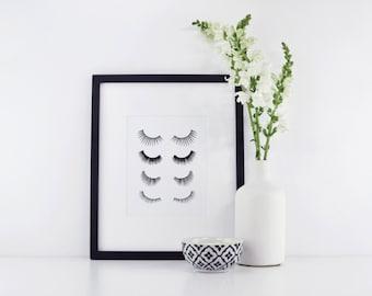 Eyelashes Print - Lashes Print - Makeup Print - Beauty Print - Lash Art - Beauty Art - Makeup Stylist
