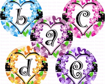 Alphabet Hearts n Flowers Bottle Cap Images 4x6 Bottlecap Collage Scrapbooking Jewelry Hairbow Center