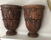 Pair of Antique Carved Wood Corbels