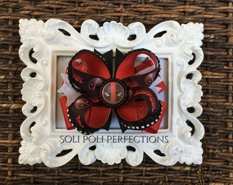 Inspired by- Deadpool Hair Bow, Boutique Bow, Boutique Stacked Hair Bow