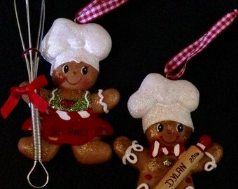 Gingerbread Boy/Girl Cooking Personalized Christmas Ornament