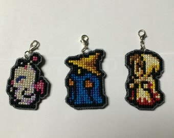 Final Fantasy Cell Phone Charms ~ CLASSIC Moogle, Black Mage, White Mage