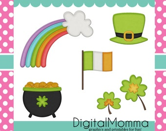 St. Patrick's Day, Irish Clipart Set, Personal & Commercial Use, Instant Download!