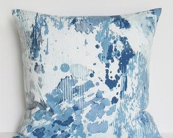 Blue Gray Pillow Cover Modern Abstract Decorative Throw Accent 16x16 18x18 20x20 22x22 12x16 12x18 12x20 14x22 Silver White Lumbar Zipper