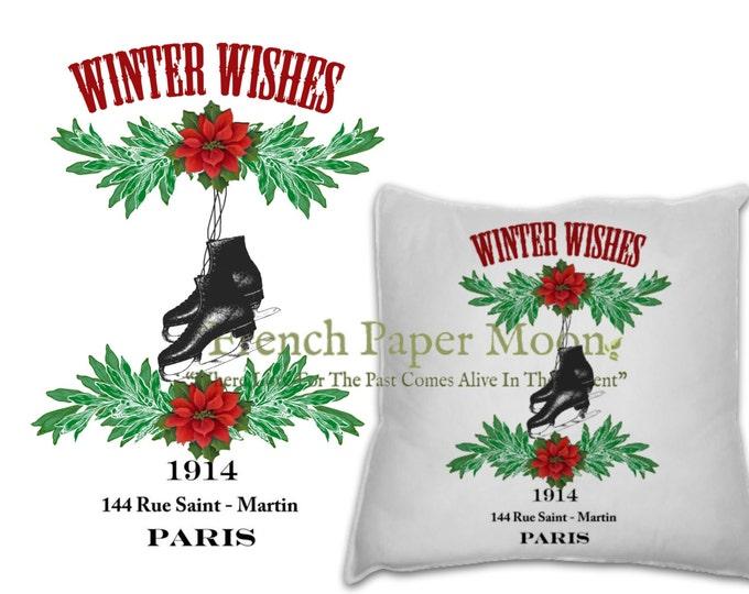 Vintage Ice Skates Digital Image, Ice Skate Pillow Transfer, Christmas Colors, Christmas iron on Fabric