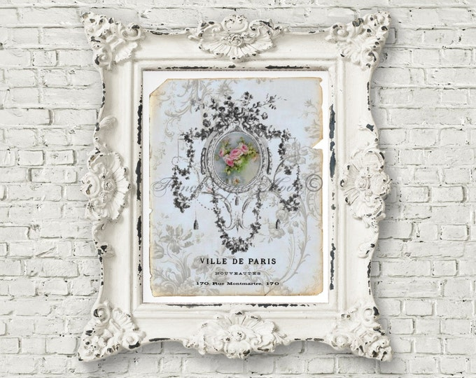Shabby Chic Ornate French Pillow Image, Limoges, Old Paper, wedding Printable, Instant Download