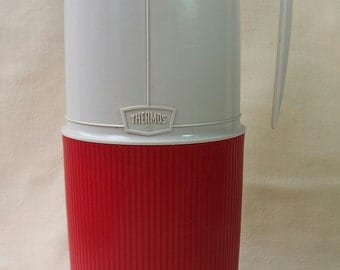 Vintage Thermos Brand Thermos ~ Red and White ~ 1970's ~ Vacuum Jar ~ Wide Mouth ~ Leakproof Stopper ~ Stronglass Filler ~ Quart Size