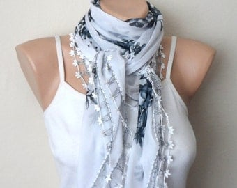 white gray scarf floral print scarf yemeni scarf oya scarf shawls wedding accessories gift for her fashion scarf