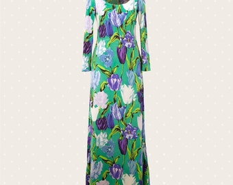 80s long flower dress