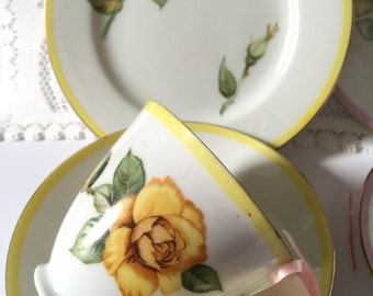 Teacup candle - Vintage Japanese trio (teacup, saucer, and plate) with soy wax in French Pear