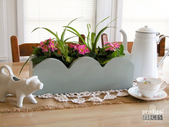 Scalloped wooden centerpiece trough made from repurposed